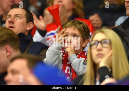 Czech fan is seen during the Euro Hockey Challenge match Czech Republic vs Germany in Karlovy Vary, Czech Republic, April 18, 2019. (CTK Photo/Slavomir Kubes) - Stock Image