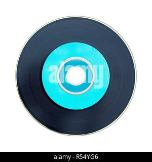 Black and pastel green cd isolated on white background - Stock Image
