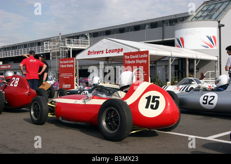 Pit lane at Silverstone on classic racing day - Stock Image