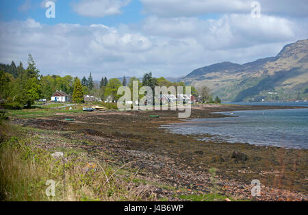 Ratagan, Scottish West coast hamlet on the shores of Loch Duich in the Pintail district of Highland Region. - Stock Image