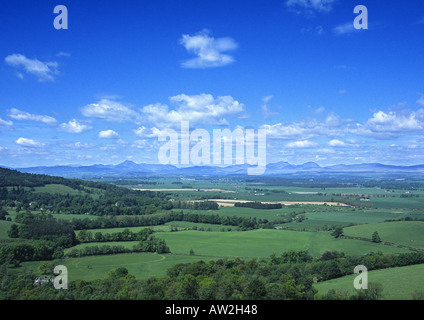 View over green fields and farmland to the Highlands as seen from Cambusbarron, Stirlingshire, Scotland - Stock Image