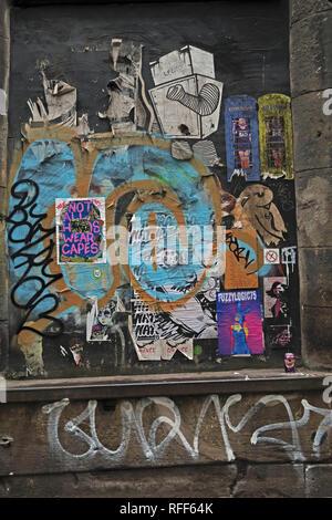 Fuzzylogic75 stencil art, Manchester Northern Quarter, NQ4, Manchester, England, Uk - Stock Image