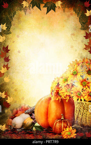 Photo based illustration of a Thanksgiving Day background with a basket of flowers, pumpkins, fruits and vegetables. Free copy space for text. - Stock Image