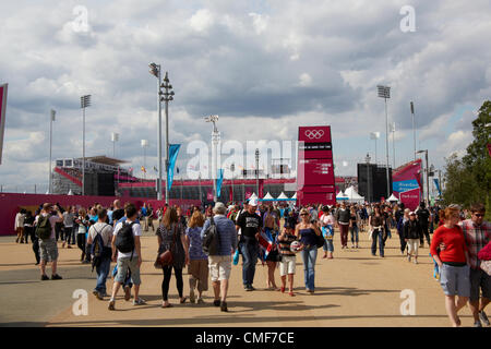 People walking to Riverbank Arena at Olympic Park, London 2012 Olympic Games site, Stratford London E20 UK, - Stock Image