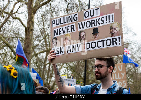 London, UK. 23 March 2019. Remain supporters and protesters take part in a march to stop Brexit in Central London calling for a People's Vote. - Stock Image