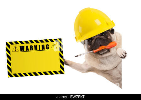 frolic construction worker pug dog with constructor helmet, holding orange screwdriver and yellow warning sign board, isolated on white background - Stock Image