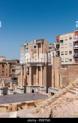 CARTAGENA, SPAIN – APRIL 12, 2017: Views of the Roman Theatre of Cartagena, Spain. It was built between 5 and 1 BC. - Stock Image