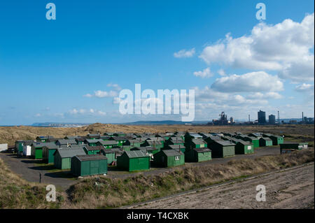 Fishermans huts at South Gare, Redcar, - Stock Image