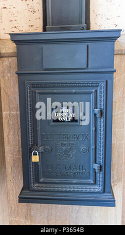 ASHEVILLE, NC, USA-10 JUNE 18:  An antique mailbox, displayed in the Grove Arcade. - Stock Image