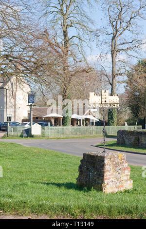 Village sign in Oxborough, Norfolk - Stock Image