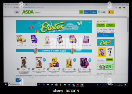 Asda online store screen shot showing easter eggs - Stock Image