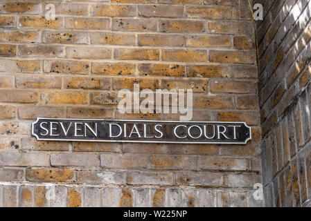 London, UK - May 15, 2019:  Seven Dials Court street name sign - Stock Image