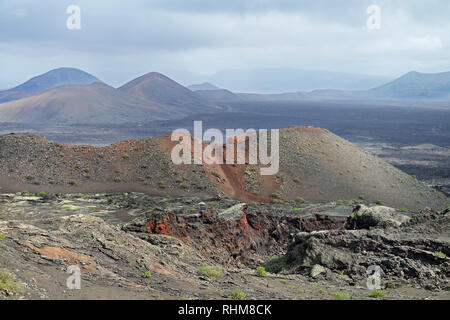Timanfaya National Park is a pristine volcanic region in Lanzarote (one of the Canary Islands). - Stock Image