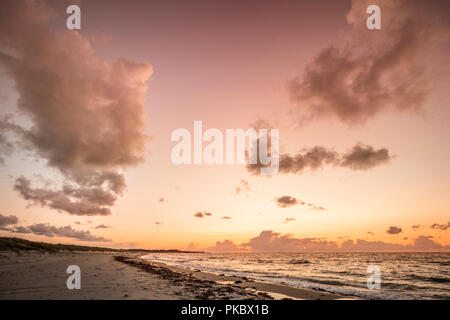 Scandinavian sunset by the ocean in Denmark with waves coming in on the beach - Stock Image