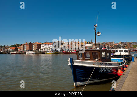 Looking across the harbour to the town of Whitby. - Stock Image