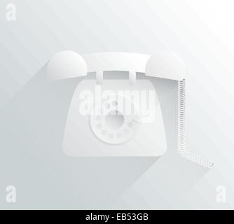 White and grey dial phone in simple design - Stock Image