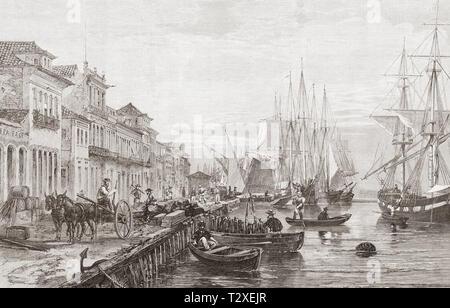 The quay at Boa Vista, San Pedro de Rio Grande do Sul, Brazil, seen here in the 19th century.  From The Illustrated London News, published 1865. - Stock Image
