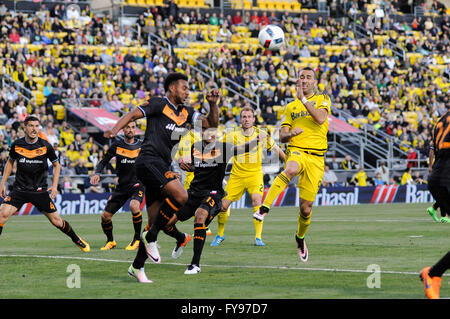 Mapfre stadium, USA. 23rd April, 2016. .Columbus Crew SC forward Justin Meram (9) and Houston Dynamo midfielder - Stock Image