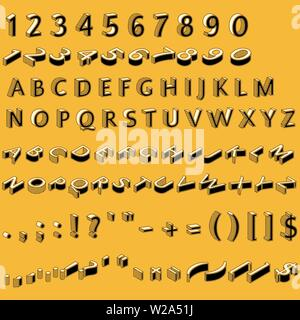 Alphabet letters, numbers and punctuation marks in retro style, isometric font, 3D typography vector illustration on yellow background - Stock Image