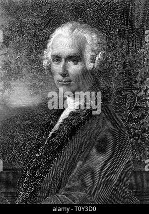 Portrait of Jean-Jacques Rousseau (1712 - 1778), probably 18th Century, engraver unknown - Stock Image