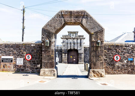 Princetown prison entrance, Dartmoor national park, HM Prison Dartmoor, Category C men's prison, Dartmoor, HMP Dartmoor, Devon, prison, prisons, UK, - Stock Image