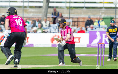 Brighton, UK. 7th May 2019 - Laurie Evans of Sussex Sharks batting during the Royal London One-Day Cup match between Sussex Sharks and Glamorgan at the 1st Central County ground in Hove. Credit : Simon Dack / Alamy Live News - Stock Image