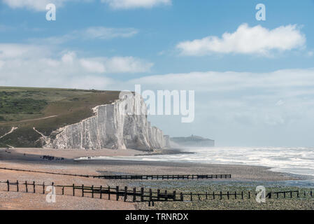 Cuckmere Haven and the Seven Sisters enjoying a bright summer afternoon today - Stock Image