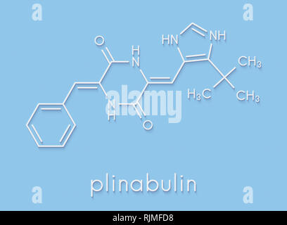 Plinabulin cancer drug molecule. Skeletal formula. - Stock Image