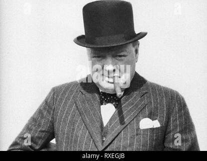Sir Winston Churchill wartime image with cigar. From the archives of Press Portrait Service - formerly Press Portrait Bureau. - Stock Image