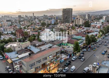 Sprawling skyline of the developing capitol of Ethiopia, Addis Ababa. - Stock Image