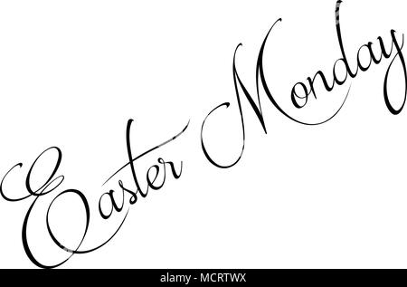 Easter Monday text sign illustration on white Background - Stock Image