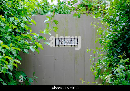 private sign on garden gate, norfolk, england - Stock Image