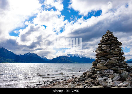 View of Lake Wakatipu, South Island, New Zealand - Stock Image