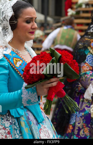 Flower offering ceremony to honour the Lady of Valencia, Valencia, Spain - Stock Image