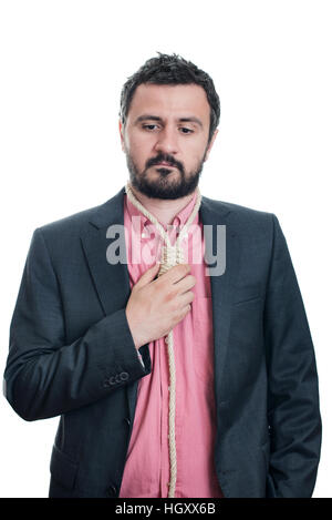 Portrait of a businessman with a gallows rope as tie - Stock Image