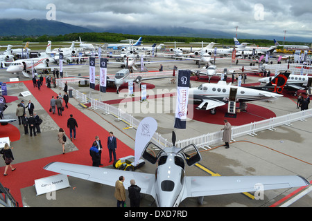 Aircraft at the 2013 Ebace exhibition at Geneva International Airport, Switzerland. - Stock Image