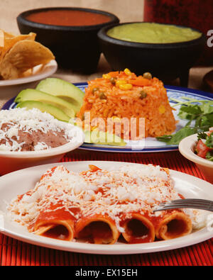 Stock image of traditional mexican red enchilada dinner - Stock Image
