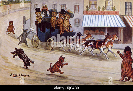 Driving to the Races in a carriage pulled by a team of four dogs - distracted by acrobatic cats - Louis Wain postcard - Stock Image