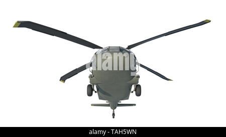 Helicopter in flight, military aircraft, army chopper isolated on white background, front bottom view, 3D rendering - Stock Image