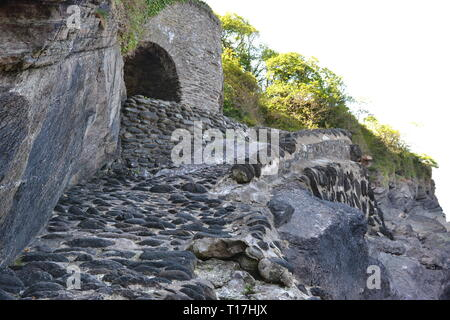 Cobbled path leading down to Woody Bay, Devon, UK - Stock Image