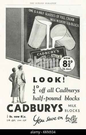 1933 UK Magazine Cadburys Dairy Milk & Bournville Chocolate Advert - Stock Image