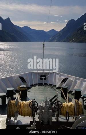 Sailing to Geirangerfjorden onboard MS Nordkapp of the Hurtigruten line. - Stock Image