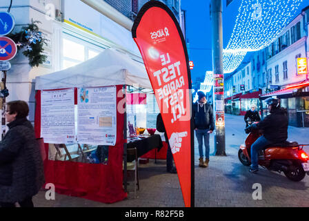 Montreuil, France, AIDES NGO Outdoor HIV Testing on street - Stock Image