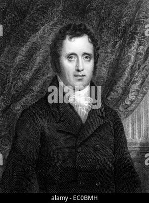 Daniel D. Tompkins (1774-1825) on engraving from 1834. 4th Governor of New York and the 6th Vice President of the - Stock Image