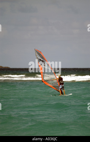 St Barths Saint Barthelemy windsurfing - Stock Image