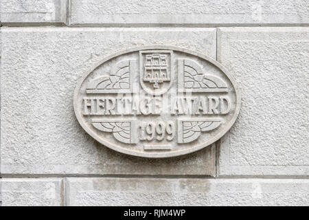 Gibraltar heritage award plaque - Stock Image