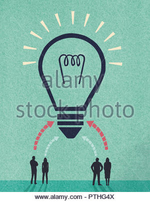 Ideas from business people forming huge light bulb - Stock Image