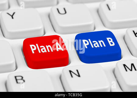 Buttons on a keyboard to show a choice of Plan A and Plan B. - Stock Image