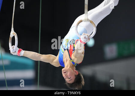 Musashino Forest Sport Plaza, Tokyo, Japan. 19th May, 2019. Takeru Kitazono, MAY 19, 2019 - Artistic Gymnastics : The 58th NHK Cup Men's Individual All-Around Rings at Musashino Forest Sport Plaza, Tokyo, Japan. Credit: YUTAKA/AFLO SPORT/Alamy Live News - Stock Image