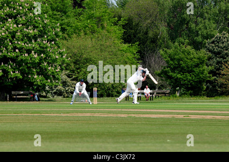 Cricket match in progress at The University Parks, Oxford, Oxfordshire - Stock Image